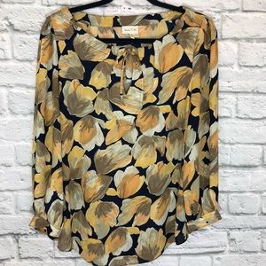 Anthropologie Meadow Rue Yellow Floral Blouse